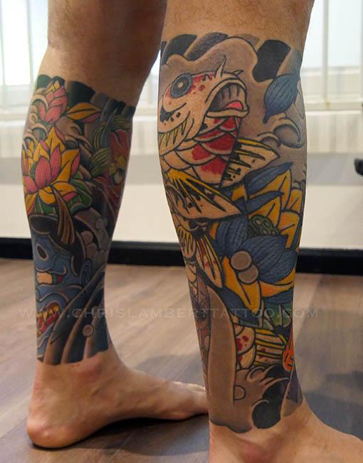 japanese koi leg sleeve tattoo snake \u0026 tiger